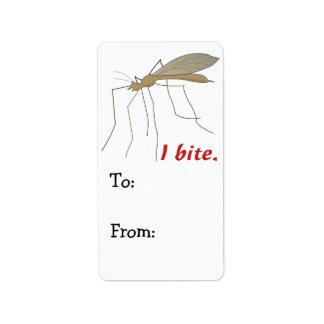 diseño divertido del mosquito de la mordedura de i etiqueta de dirección