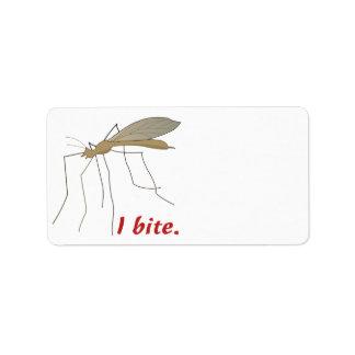 diseño divertido del mosquito de la mordedura de i etiquetas de dirección