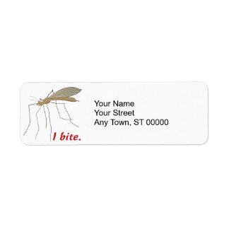 diseño divertido del mosquito de la mordedura de i etiquetas de remite