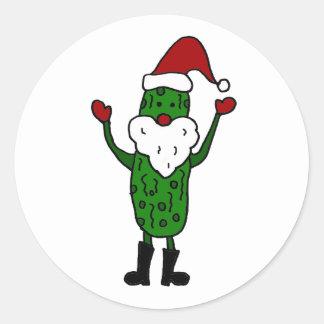 Diseño divertido del navidad de Papá Noel de la Etiqueta Redonda