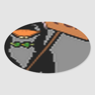 Diseño divertido del pingüino pegatina ovalada