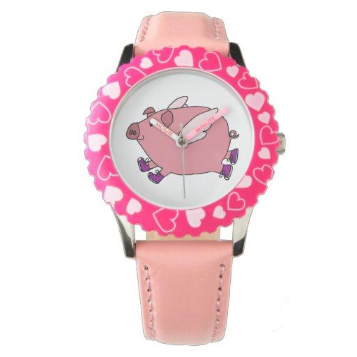 Diseño divertido del reloj del cerdo del vuelo