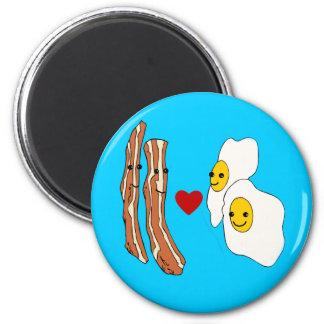 Diseño divertido del tocino de los huevos de los a imán redondo 5 cm