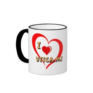 Diseño doble del corazón de Utica Michigan Taza De Dos Colores