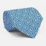 Diseño dominante griego - azul y blanco corbatas personalizadas