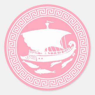 Diseño dominante griego pegatina redonda