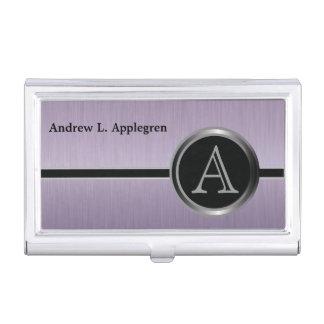 Diseño ejecutivo del monograma - acero Amethyst Caja De Tarjetas De Visita