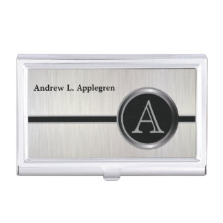 Diseño ejecutivo del monograma - acero blanco del cajas de tarjetas de visita