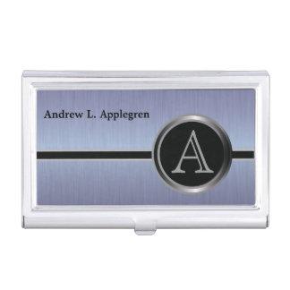Diseño ejecutivo del monograma - acero del cepillo caja de tarjetas de presentación