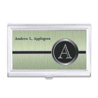 Diseño ejecutivo del monograma - acero del cepillo caja de tarjetas de visita