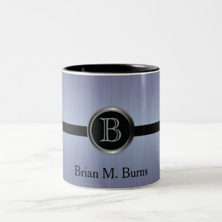 Diseño ejecutivo del monograma - acero del cepillo taza de dos tonos