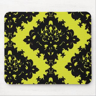 diseño elegante chartreuse y negro del damasco del tapete de ratón
