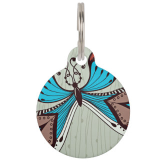 Diseño elegante de la mariposa placa para mascotas