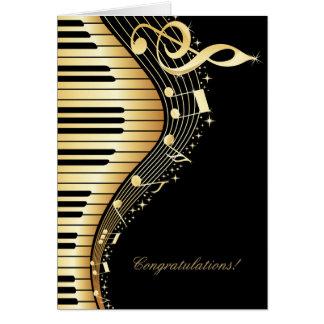 Diseño elegante de las notas de la música del tarjeta de felicitación