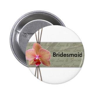 Diseño elegante del boda de la orquídea pin redondo de 2 pulgadas