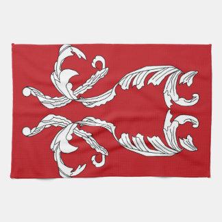 Diseño elegante del brocado blanco de Borgoña del Toalla