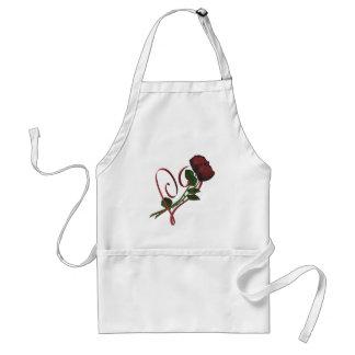 Diseño elegante del corazón de los rosas rojos delantal