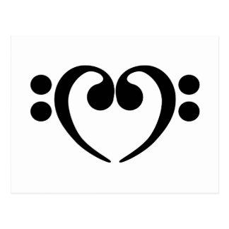 Diseño elegante del corazón del clef bajo de la postales