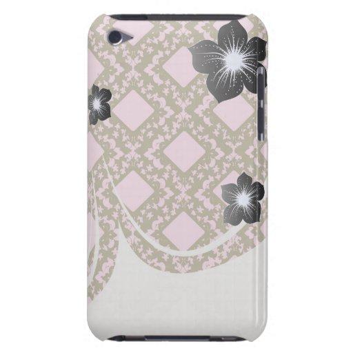 diseño elegante del damasco del diamante rosado y  iPod Case-Mate cobertura