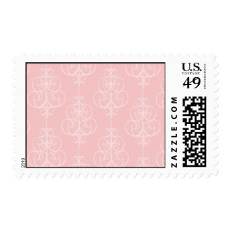 diseño elegante del damasco del remolino del rosa timbre postal