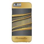 Diseño elegante del metal del negro y del oro funda de iPhone 6 barely there
