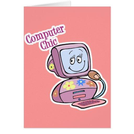 Diseño elegante del ordenador lindo felicitación