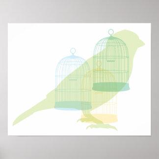 Diseño elegante del pájaro impresiones