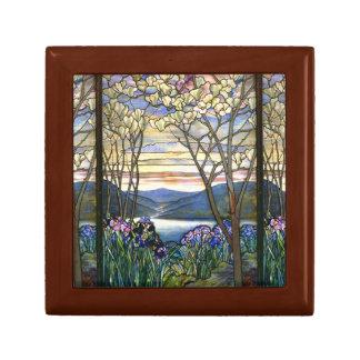 Diseño elegante del vitral de la magnolia y del joyero cuadrado pequeño