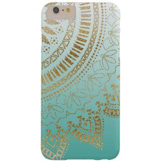 Diseño elegante dibujado mano bonita de la mandala funda para iPhone 6 plus barely there