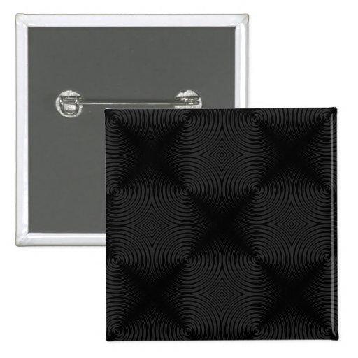 Diseño elegante, negro de los círculos. Personaliz Pin Cuadrado