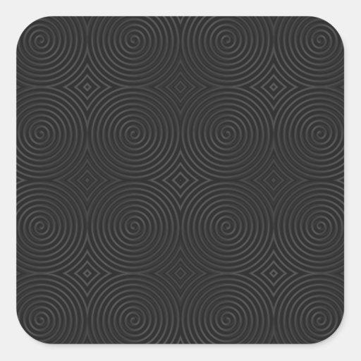 Diseño elegante, negro de los espirales calcomanía cuadradas personalizadas