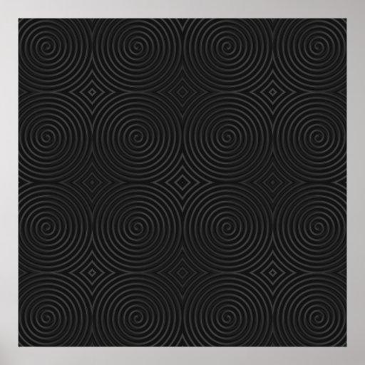 Diseño elegante, negro de los espirales posters