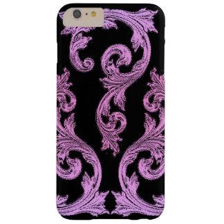 Diseño elegante rosado y negro del gótico funda de iPhone 6 plus barely there