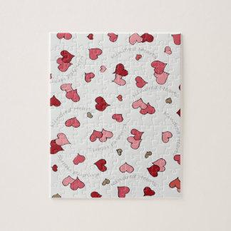Diseño emparentado de los corazones en rosas puzzle