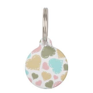 Diseño en colores pastel adornado de los corazones placa de mascota