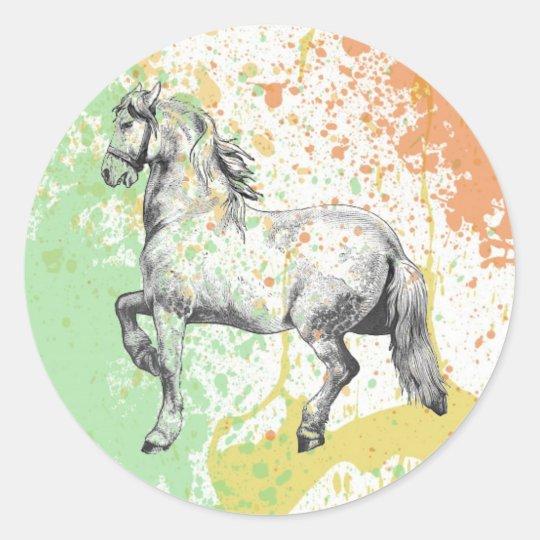 Diseño en colores pastel de la salpicadura de la pegatina redonda