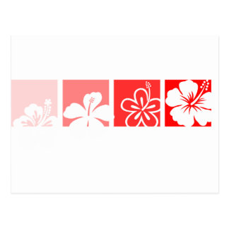Diseño en colores pastel del hibisco rojo tarjeta postal