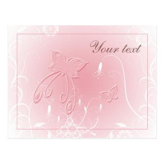 Diseño en colores pastel suave de la mariposa postales