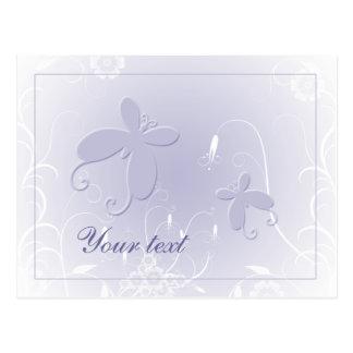 Diseño en colores pastel suave de la mariposa tarjeta postal