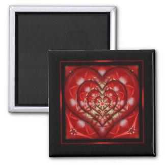 Diseño encajonado del corazón imán cuadrado