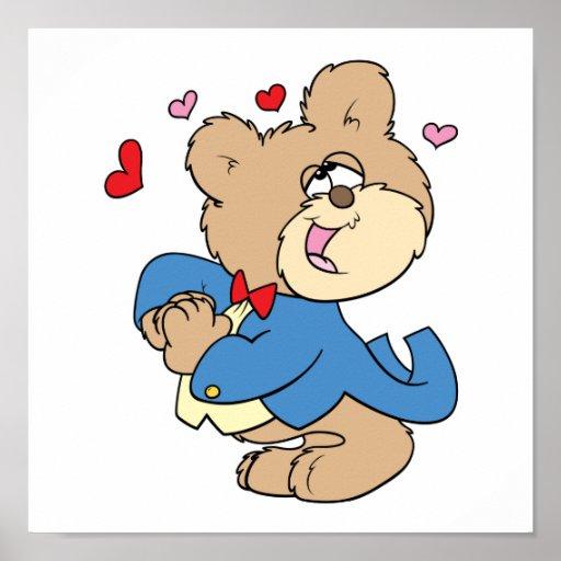 diseño enfermo del oso de peluche del muchacho del poster