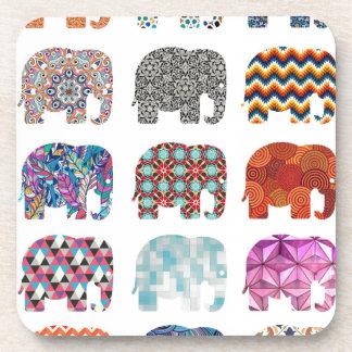 diseño enrrollado colorido del elefante de la posavasos