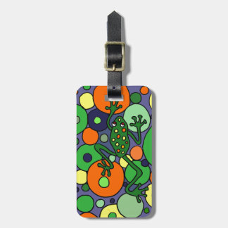 Diseño enrrollado del arte de la rana y de las etiquetas para maletas