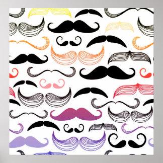 Diseño enrrollado del bigote del arco iris póster
