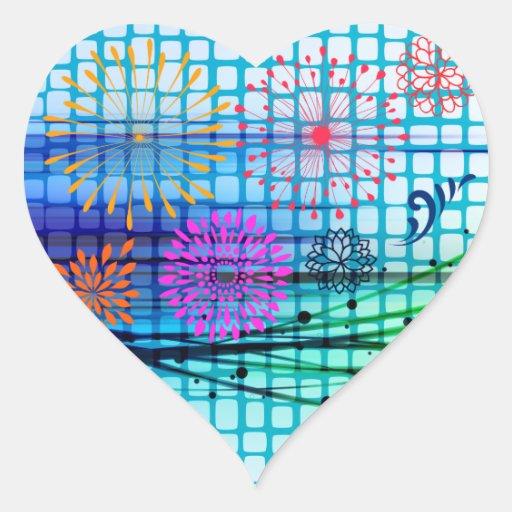 Diseño enrrollado del extracto de los rayos pegatina en forma de corazón