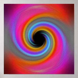 Diseño enrrollado del remolino del arco iris poster