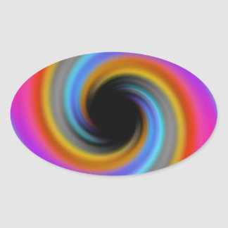 Diseño enrrollado del remolino del arco iris pegatina ovalada