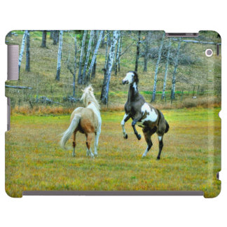 Diseño equino 2 del arte de dos del Pinto caballos Funda Para iPad