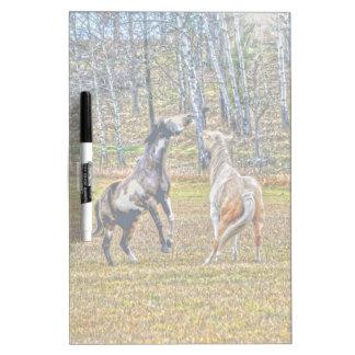 Diseño equino del arte de dos del Pinto caballos Pizarras Blancas De Calidad