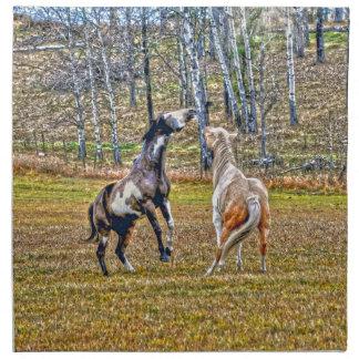 Diseño equino del arte de dos del Pinto caballos Servilleta Imprimida